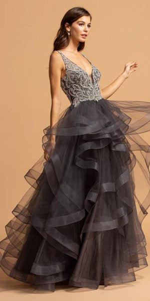 L1973 Charcoal V-Neck Tiered Long Prom Dress Beaded Bodice
