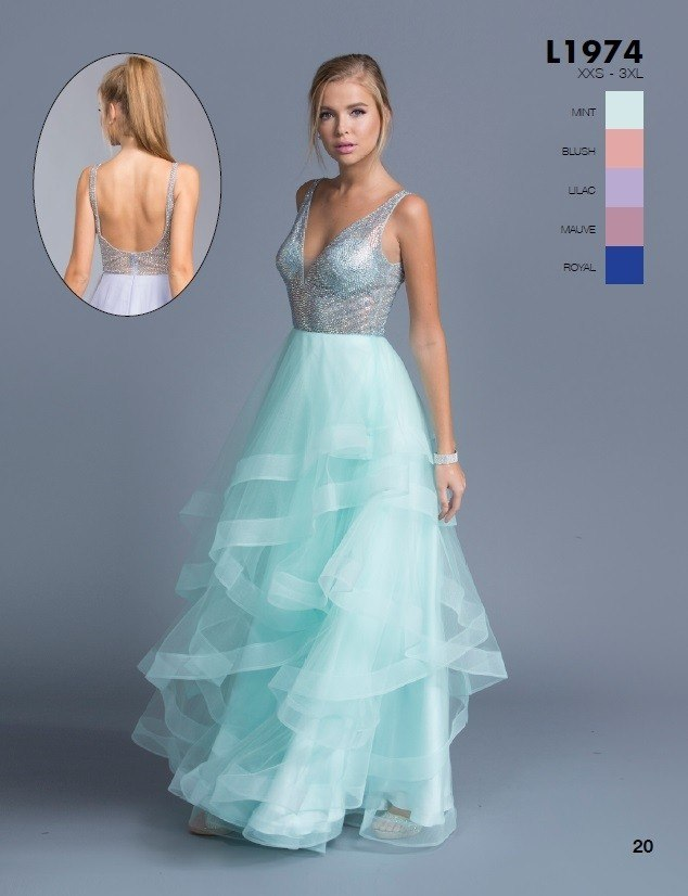 Aspeed L1974 Mint Tiered Long Prom Dress with Plunging V-Neckline