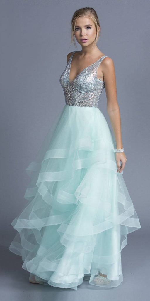 Mint Tiered Long Prom Dress with Plunging V-Neckline