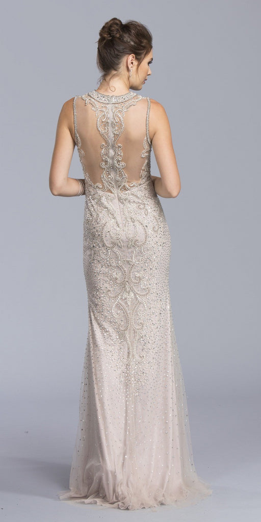 Sleeveless Bead Appliqued Long Formal Dress Mauve