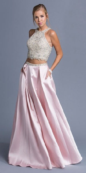 Blush Two-Piece Long Prom Dress with Pockets