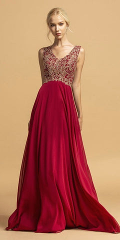 Burgundy Sleeveless Long Prom Dress with Bead Appliques