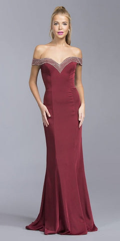 Off-Shoulder V-Neck Mermaid Long Prom Dress Burgundy