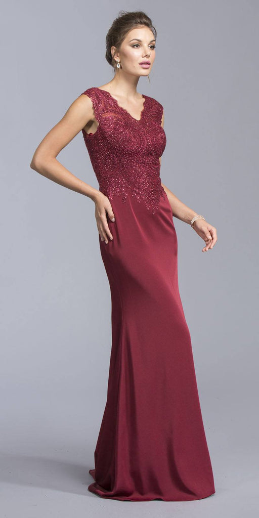 Aspeed USA L1981 Burgundy Cap Sleeve Floor Length Formal Dress Appliqued Bodice