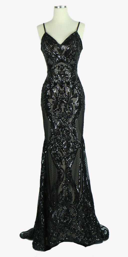 Sequins Evening Gown V-Neck with Spaghetti Straps Black