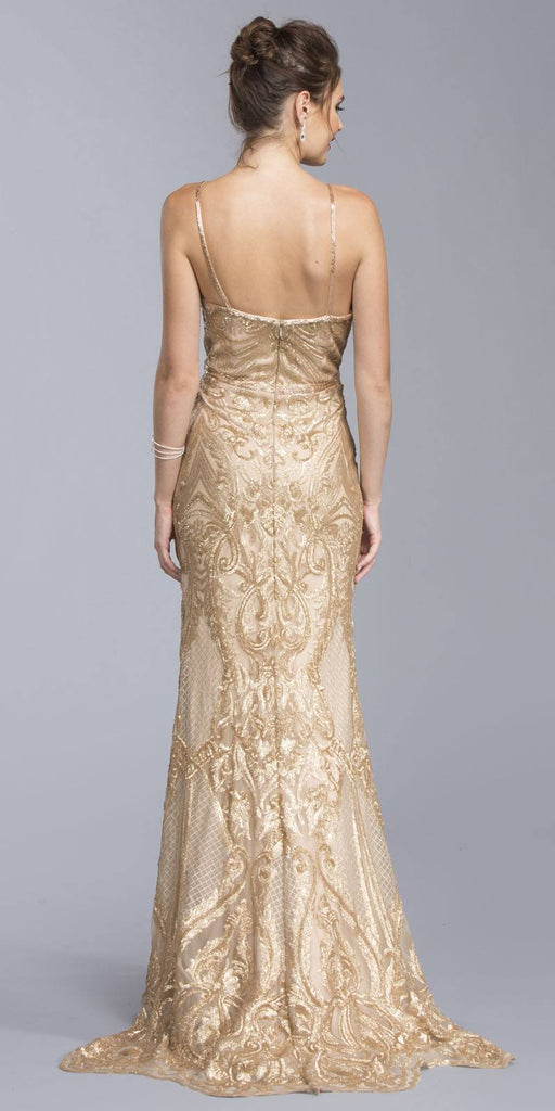 Sequins Evening Gown V-Neck with Spaghetti Straps Gold