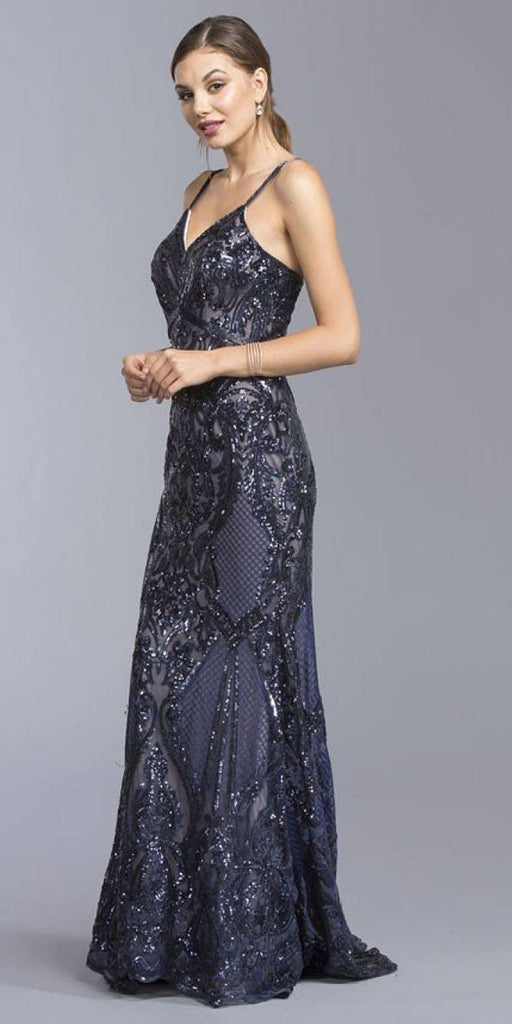 Long Sequins Navy Blue Evening Gown V-Neck with Spaghetti Straps