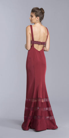 Burgundy Mermaid Long Prom Dress With Plunging Neckline
