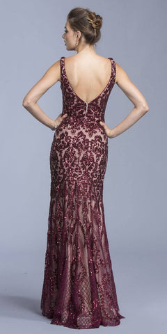 Burgundy Sequins Floor Length Prom Dress V-Neck