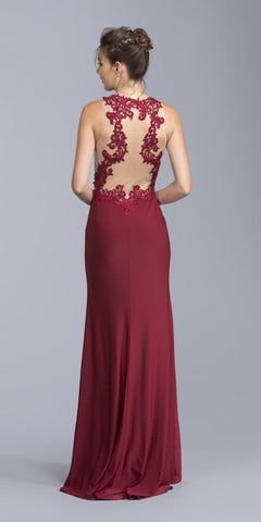 Appliqued Sleeveless Long Formal Dress Burgundy