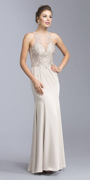 Illusion Appliqued Evening Gown Cut-Out Back Champagne