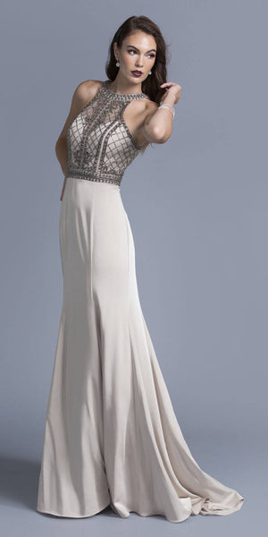 Champagne Halter Beaded Long Prom Dress Cut Out Back