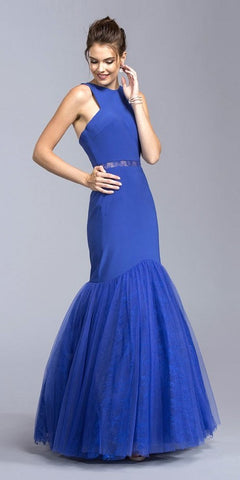 Mermaid Long Formal Dress Sheer Cut-out Waist Royal Blue