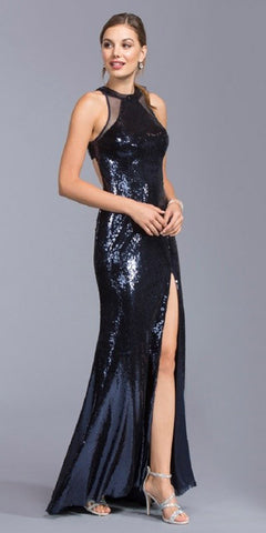 Black Sequins Long Formal Dress with Cut-Out Back and High Slit