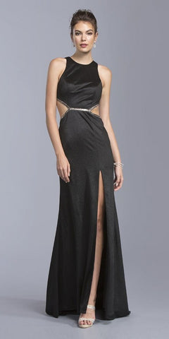 Black Sleeveless Long Prom Dress with Cut-Out and Slit