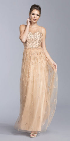 Nude Illusion Back Long Formal Dress Sweetheart Neckline