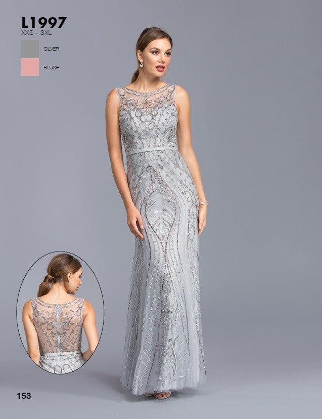 Aspeed Usa L1997 Silver Illusion Bead Embellished Evening Gown