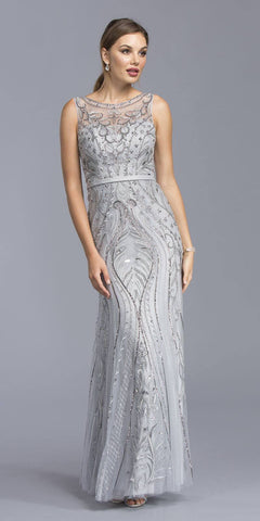 Silver Illusion Bead Embellished Evening Gown Sleeveless