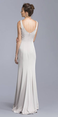 Plunging V-Neck Silver Long Formal Dress with Sheer Inset