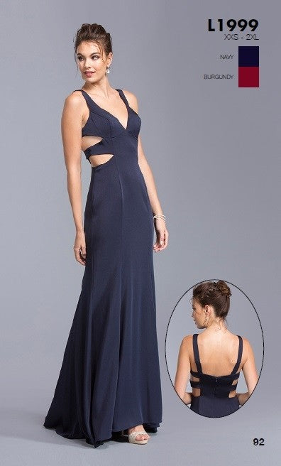 Navy Blue V-Neck Long Prom Dress with Multiple Cut-Outs