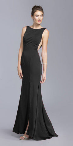 Black Bateau Neckline Mermaid Long Formal Dress with Slit