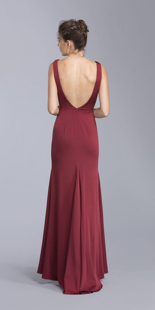 Burgundy Bateau Neckline Mermaid Long Formal Dress with Slit
