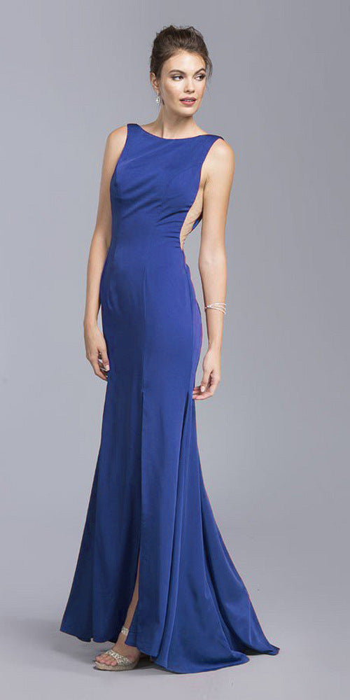 Royal Blue Bateau Neckline Mermaid Long Formal Dress with Slit