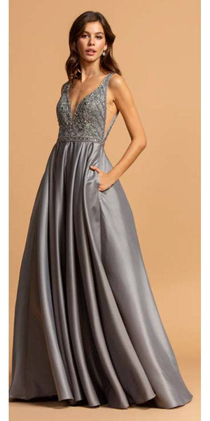 Aspeed USA L2001 Silver Deep V-Neck and Back Beaded Long Prom Dress