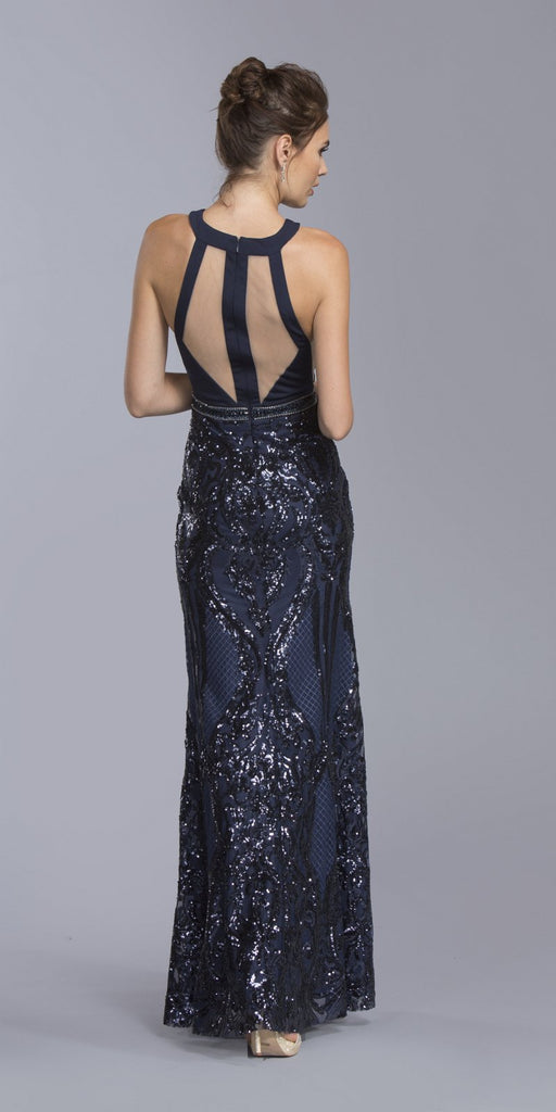 Halter Sequins Long Formal Dress with Sheer Panel Navy Blue