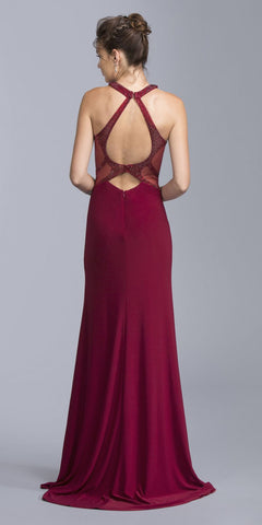 Halter Long A-line Prom Dress with Keyhole Cut-Out Burgundy
