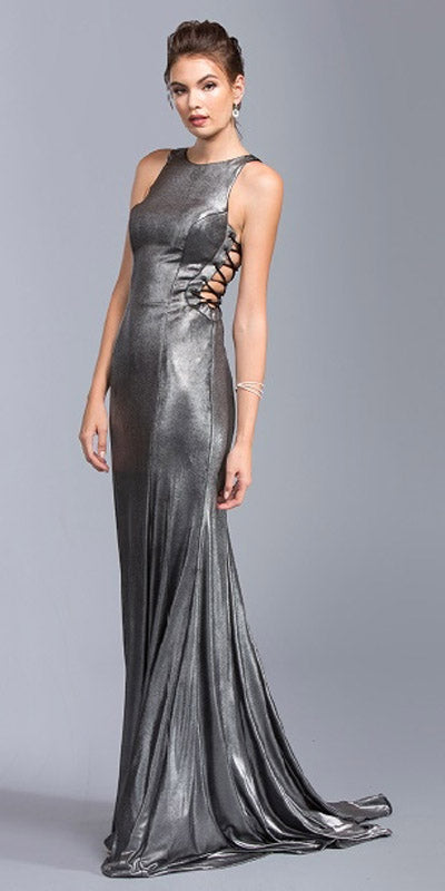Sleeveless with Lace Up Side Gunmetal Evening Gown