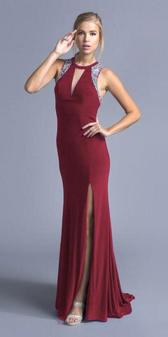 Aspeed L2008 Burgundy Mermaid Prom Gown with Cut-Outs and Slit