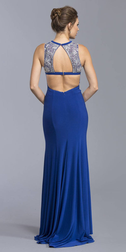 Royal Blue Mermaid Prom Gown with Cut-Outs and Slit