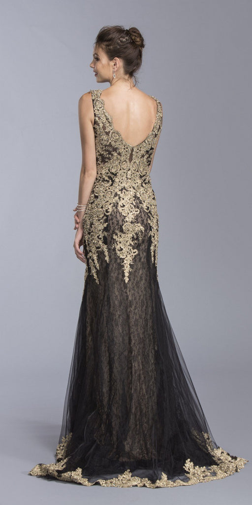 Appliqued Floor Length Mermaid Formal Dress Black V-Neck