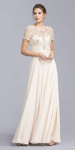 Illusion Short Sleeved Beaded Long Formal Dress Champagne