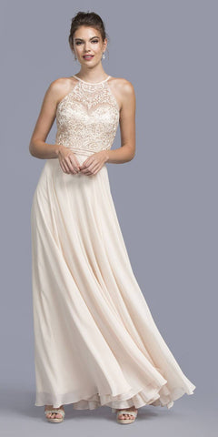 Champagne Appliqued Halter Long Formal Dress Lace Up Back