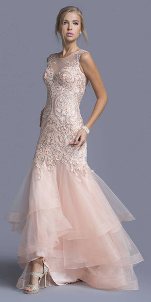 Blush Tiered Mermaid Prom Gown Appliqued Bodice