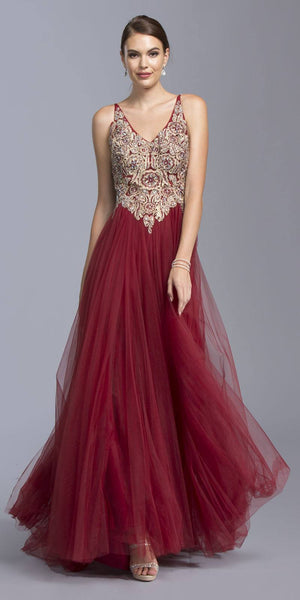 Burgundy Appliqued A-line Prom Gown Sexy Open Back