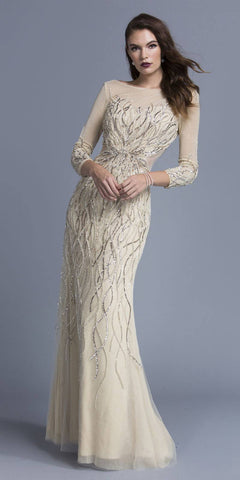 Nude Beaded V-Back Evening Gown Long Sleeves