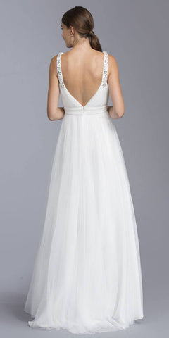 Off White Long Formal Dress V-Neck and Back with Slit
