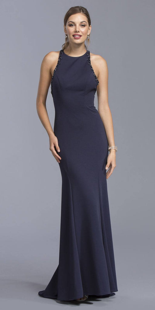 Aspeed USA L2017 Navy Blue Beaded Floor Length Prom Dress Criss Crossing Back