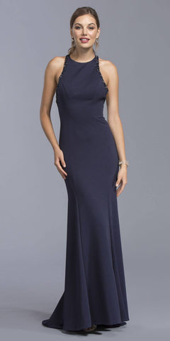 Navy Blue Beaded Floor Length Prom Dress Criss Crossing Back