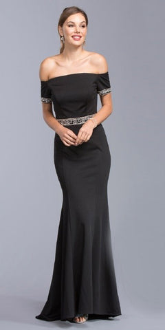Off-the-Shoulder Black Mermaid Long Formal Dress