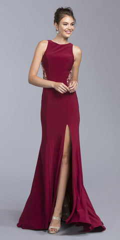 Burgundy Sleeveless Long Formal Dress with Beaded Sheer Cut-Out