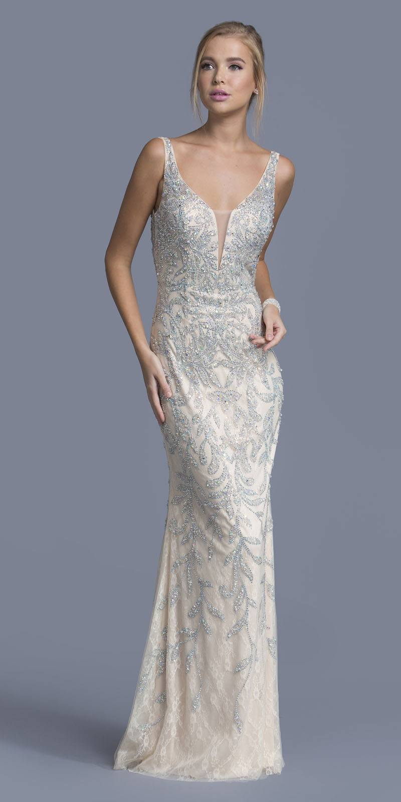 Aspeed Usa L2021 Rhinestone Embellished Lace Prom Gown V Back