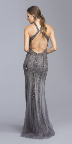 Halter Beaded Long Prom Dress Cut-Out Back Charcoal