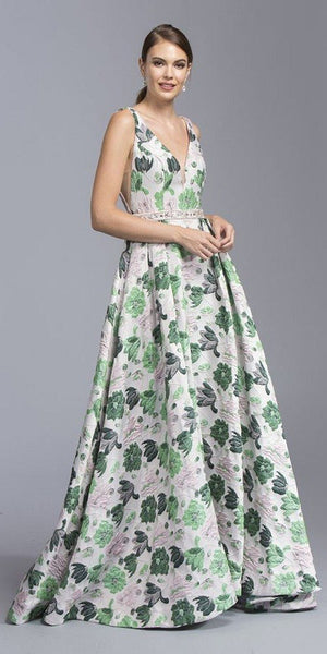 Pink/Green Floral-Print Long Prom Dress V-Neck and Back