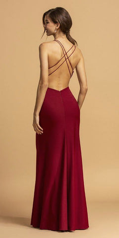 Burgundy Long Prom Dress V-Neck with Criss-Cross Back