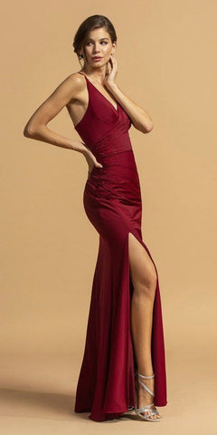 CLEARANCE - Strapless Long Prom Dress Cut Out Back with Ruffled Bustle Red (Size Medium)