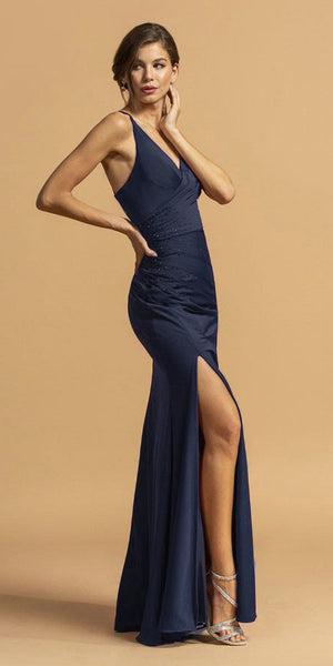 Navy Blue Long Prom Dress V-Neck with Criss-Cross Back